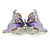 Purple Enamel Crystal Butterfly Brooch In Rhodium Plating - 50mm W - view 5