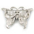 Purple Enamel Crystal Butterfly Brooch In Rhodium Plating - 50mm W - view 6