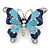 Navy & Sky Blue Enamel Crystal Butterfly Brooch In Rhodium Plating - 50mm W