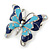Navy & Sky Blue Enamel Crystal Butterfly Brooch In Rhodium Plating - 50mm W - view 2