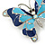 Navy & Sky Blue Enamel Crystal Butterfly Brooch In Rhodium Plating - 50mm W - view 3