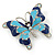 Navy & Sky Blue Enamel Crystal Butterfly Brooch In Rhodium Plating - 50mm W - view 4