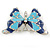 Navy & Sky Blue Enamel Crystal Butterfly Brooch In Rhodium Plating - 50mm W - view 5