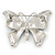 Navy & Sky Blue Enamel Crystal Butterfly Brooch In Rhodium Plating - 50mm W - view 6