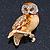 Brown Enamel Austrian Crystal Owl Brooch In Gold Plating - 40mm L - view 3