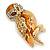 Brown Enamel Austrian Crystal Owl Brooch In Gold Plating - 40mm L - view 2