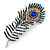 Large Stunning Crystal Peacock Feather Brooch In Rhodium Plating (Teal/ Blue/ Orange) - 11cm L
