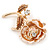 Romantic Magnolia/ Bronze Crystal Rose Flower Brooch In Gold Plating - 52mm L - view 2