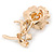 Romantic Magnolia/ Bronze Crystal Rose Flower Brooch In Gold Plating - 52mm L - view 3