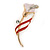 Delicate Pink/ Coral Crystal Calla Lily Brooch In Gold Plating - 55mm L
