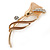 Delicate Magnolia/ Bronze Crystal Calla Lily Brooch In Gold Plating - 55mm L - view 2