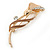 Delicate Magnolia/ Bronze Crystal Calla Lily Brooch In Gold Plating - 55mm L - view 5