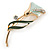 Delicate Mint/ Dark Green Crystal Calla Lily Brooch In Gold Plating - 55mm L - view 2