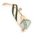 Delicate Mint/ Dark Green Crystal Calla Lily Brooch In Gold Plating - 55mm L - view 3