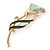 Delicate Mint/ Dark Green Crystal Calla Lily Brooch In Gold Plating - 55mm L - view 6