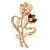 Magnolia/ Bronze Crystal Tulip Brooch In Gold Tone - 55mm L