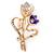 Purple/ Pink Crystal Tulip Brooch In Gold Tone - 55mm L