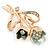Mint/ Dark Green Crystal Tulip Brooch In Gold Tone - 55mm L - view 2