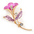 Deep Pink/ Lilac Enamel, Crystal Calla Lily Brooch In Gold Plating - 53mm L - view 2