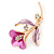 Deep Pink/ Lilac Enamel, Crystal Calla Lily Brooch In Gold Plating - 53mm L - view 3