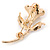 Deep Pink/ Lilac Enamel, Crystal Calla Lily Brooch In Gold Plating - 53mm L - view 4
