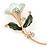 Mint/ Dark Green Enamel, Crystal Calla Lily Brooch In Gold Plating - 53mm L - view 2