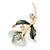 Mint/ Dark Green Enamel, Crystal Calla Lily Brooch In Gold Plating - 53mm L - view 3
