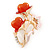 Pink Enamel, Crystal With Coral Glass Stones Floral Brooch In Gold Plating - 45mm L