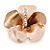 Bronze/ Magnolia Enamel, Crystal Flower Brooch In Gold Plating - 30mm Across