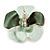 Mint Green/ Dark Green Enamel, Crystal Flower Brooch In Gold Plating - 30mm Across