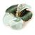 Mint Green/ Dark Green Enamel, Crystal Flower Brooch In Gold Plating - 30mm Across - view 2