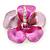 Pink/ Fuchsia Enamel, Crystal Flower Brooch In Gold Plating - 30mm Across