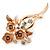 Magnolia/ Bronze Enamel, Crystal Triple Flower Brooch In Gold Tone - 55mm L
