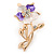 Purple/ Magnolia Enamel, Crystal Daisy Brooch In Gold Plating - 50mm L