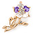Purple/ Magnolia Enamel, Crystal Daisy Brooch In Gold Plating - 50mm L - view 2