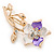 Purple/ Magnolia Enamel, Crystal Daisy Brooch In Gold Plating - 50mm L - view 3