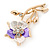 Purple/ Magnolia Enamel, Crystal Daisy Brooch In Gold Plating - 50mm L - view 5