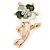 Mint/ Dark Green Enamel, Crystal Daisy Brooch In Gold Plating - 50mm L