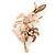 Magnolia/ Bronze Enamel, Crystal Double Flower Brooch In Gold Plating - 62mm L