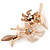 Magnolia/ Bronze Enamel, Crystal Double Flower Brooch In Gold Plating - 62mm L - view 3