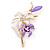 Purple/ Pink Enamel, Crystal Double Flower Brooch In Gold Plating - 62mm L