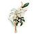 Mint/ Dark Green Enamel, Crystal Double Flower Brooch In Gold Plating - 62mm L
