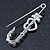 Clear Crystal Heart and Flower Safety Pin Brooch In Silver Tone - 50mm L - view 4
