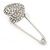 Clear Austrian Crystal Heart Safety Pin Brooch In Rhodium Plating - 55mm L - view 8