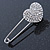Clear Austrian Crystal Heart Safety Pin Brooch In Rhodium Plating - 55mm L - view 2
