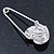 Clear Austrian Crystal Heart Safety Pin Brooch In Rhodium Plating - 55mm L - view 3