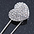 Clear Austrian Crystal Heart Safety Pin Brooch In Rhodium Plating - 55mm L - view 4