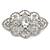 Bridal/ Wedding/ Prom Art Deco Clear Austrian Brooch In Rhodium Plating - 63mm L