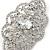 Bridal/ Wedding/ Prom Art Deco Clear Austrian Brooch In Rhodium Plating - 63mm L - view 3