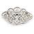 Bridal/ Wedding/ Prom Art Deco Clear Austrian Brooch In Rhodium Plating - 63mm L - view 4